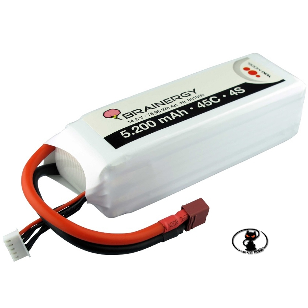 801090 Batteria Lipo 5200 mAh 4S 14.8 Volt -Brainergy - 45C continui -  6 celle