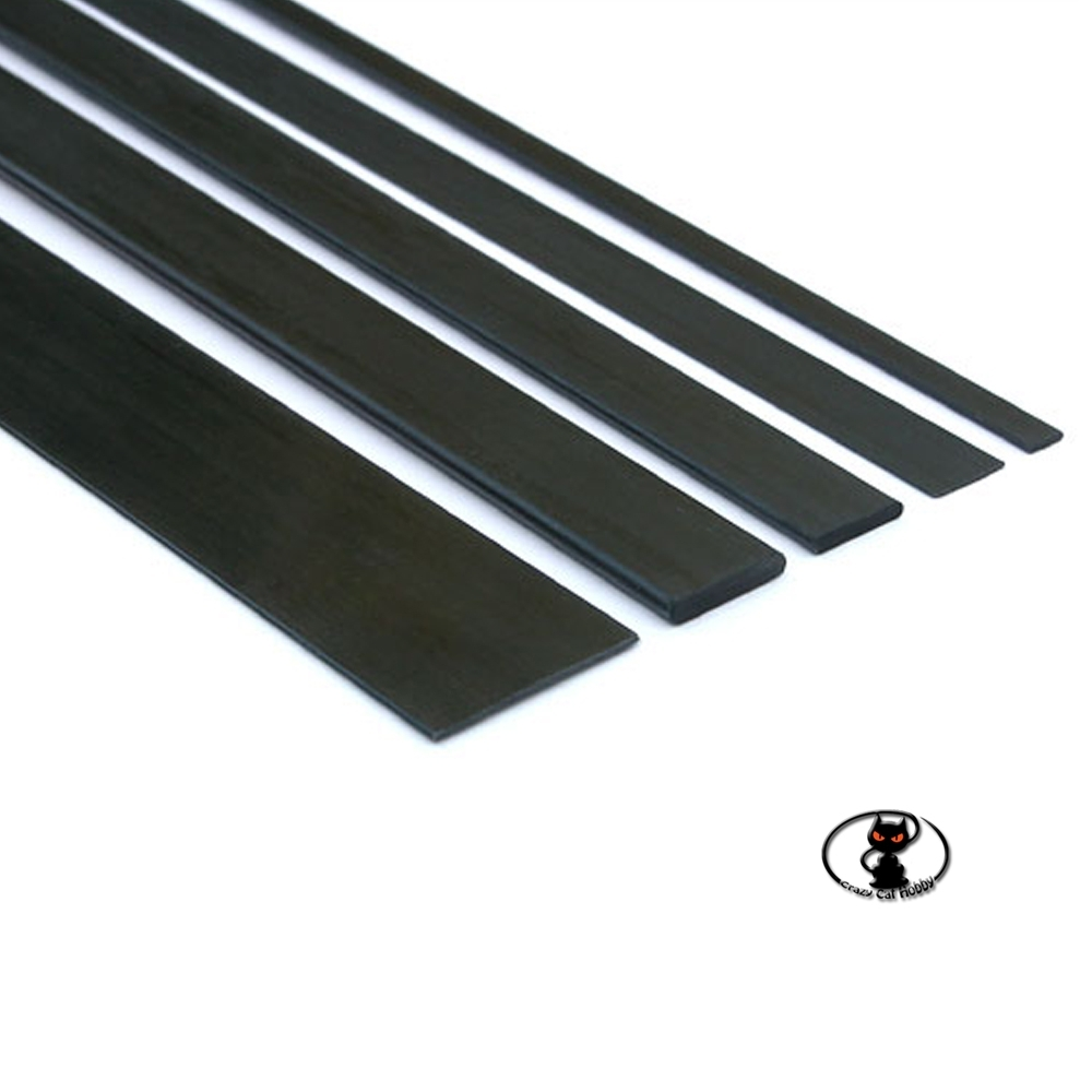 C2507 Full carbon fiber strip 5x0.5x1000 mm long for structural reinforcements and tie rods