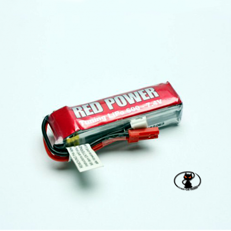 C5194 Lipo Battery 600 mAh 2S 7.4 Volt Red Power 25C continuous 50C peak 2 cells
