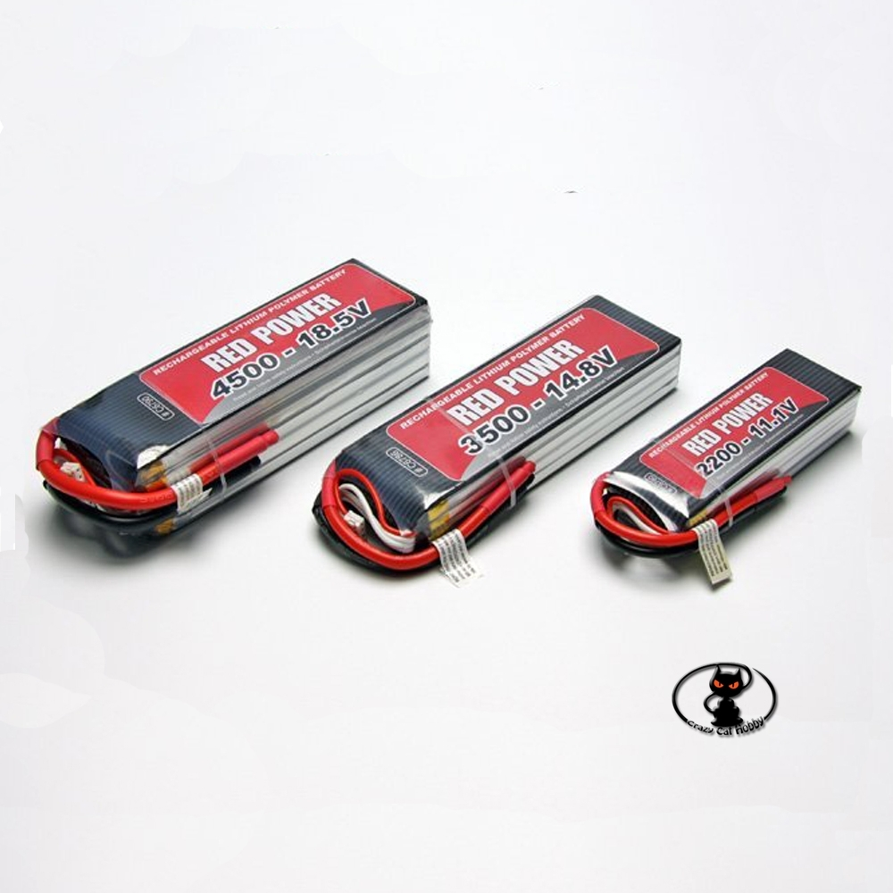 C6777 Lipo Battery 1800 mAh 2S 7.4 Volt Red Power - 20C continuous 40C peak 2 cells