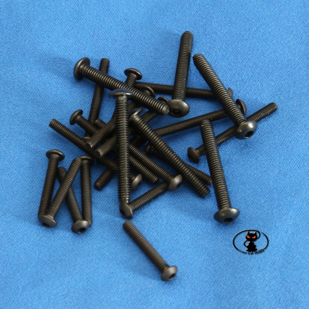 Viti M4 testa bombata brunite brugola lunghezza 8 mm,