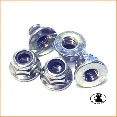 Nuts M4 flanged nylon locking  10 pieces