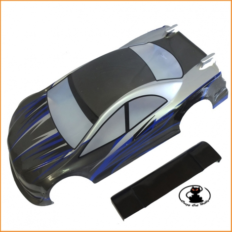 Black Bull Touring body 1:10 scale painted and cut (Silver-Blue-Black)