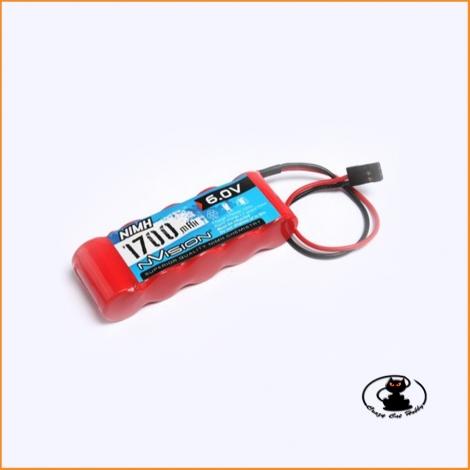 Batteria nimh per TX RX connettore UNI 1700 mah 6 Volt ( pacco 5 elementi piatti )