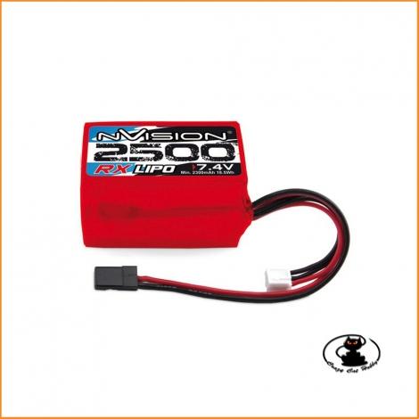 Batteria rx lipo Nvision 7.4v 2500 mAh con connettore UNI