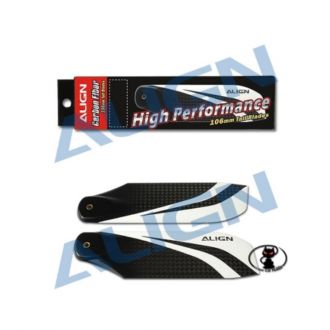 Tail rotor blades Align in 106 mm carbon fiber black and white color for all the class 700 helicopters HQ1060A