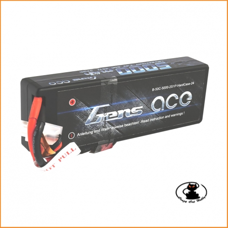 Gens ace hard case lipo 5000mAh 2S1P 50C lipo battery packs It suited to 1/8 & 1/10 RC car model.