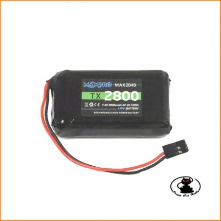 Maxpro batteria lipo 2S per radio Futaba 7.4v 2800 mah