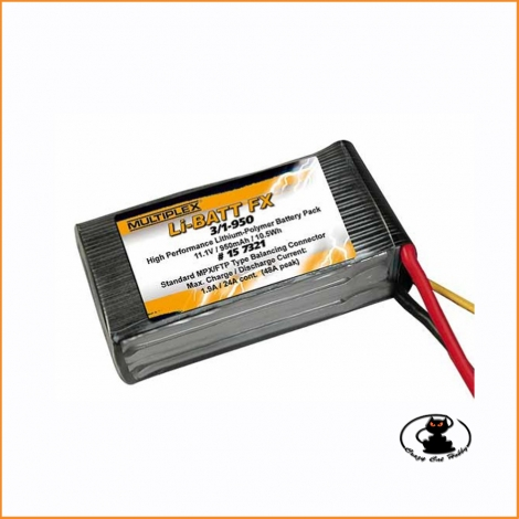 Lipo battery 3S 950 mAh 11.1 volt 25C Multiplex #157321