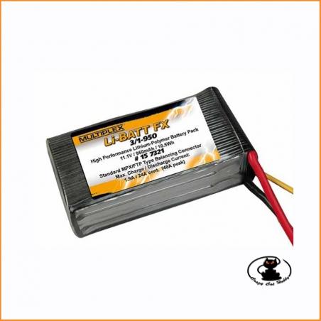 Lipo battery 3S 950 mAh 11.1 volt 25C Multiplex #157321