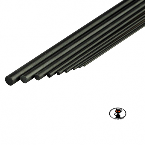 Tondino in fibra di carbonio diametro esterno 4 mm. x 1000 mm. di lunghezza per rinforzi strutturali e tiranti