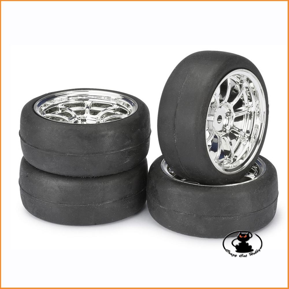 "Wheel Set Onroad Lp ""9 Spoke/Slick"" chrome 1:10 (4 pcs) Absima 2510010"
