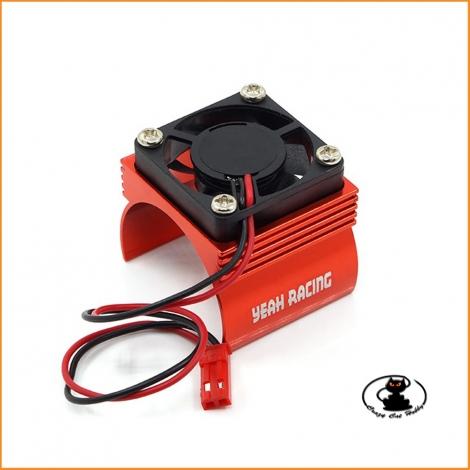 Heatsink for electric motors class 540, scale 1:10, in red aluminum with fan - YA-410RD