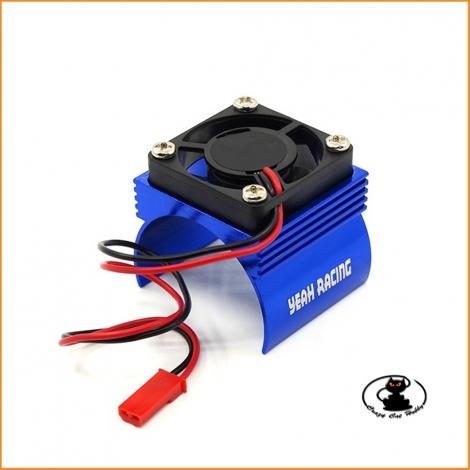 Heatsink for electric motors class 540, scale 1:10, in blue aluminum with fan - YA-410BU