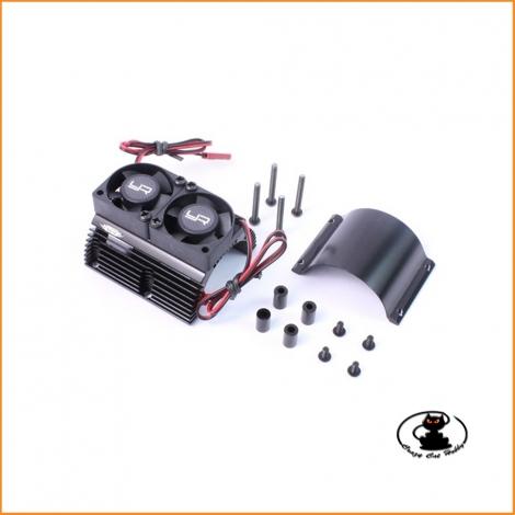 Dissipatore per motori 1/8 in alluminio nero con 2 ventole YA-0261BK - Yeah Racing