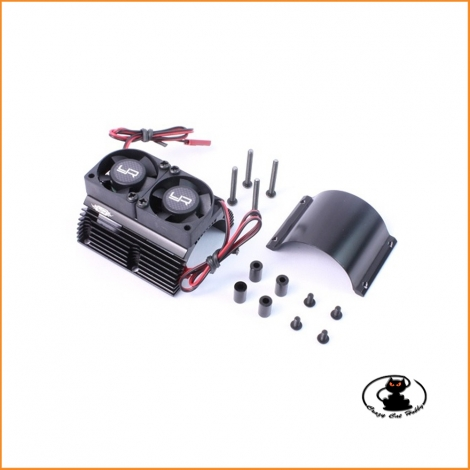 Heatsink for electric motors 1/8 scale in black aluminum with 2 fans YA-0261BK - Yeah Racing