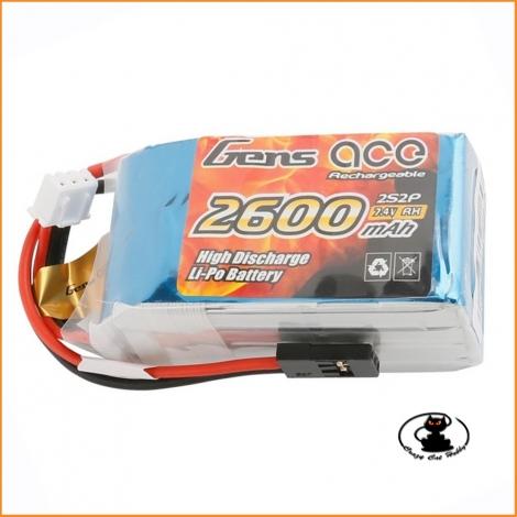 Batteria rx lipo Gens Ace 2S 7.4v 2600 mAh -GE6-2600H-2JR