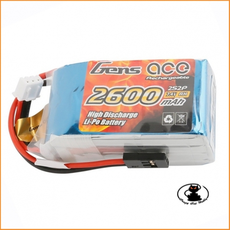 Rx lipo battery Gens Ace 2S 7.4v 2600 mAh - GE6-2600H-2JR