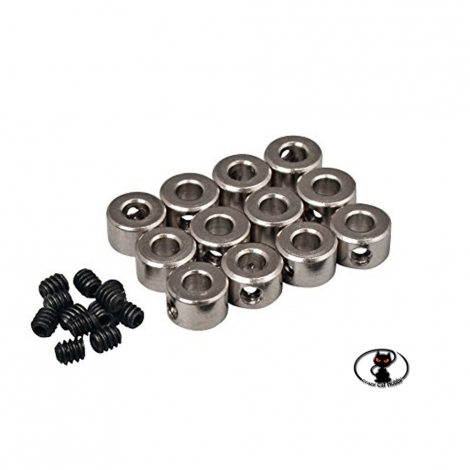 114036 - Axes aluminum collars with fixing screws, internal hole diameter 5.1 mm. 5 pieces.