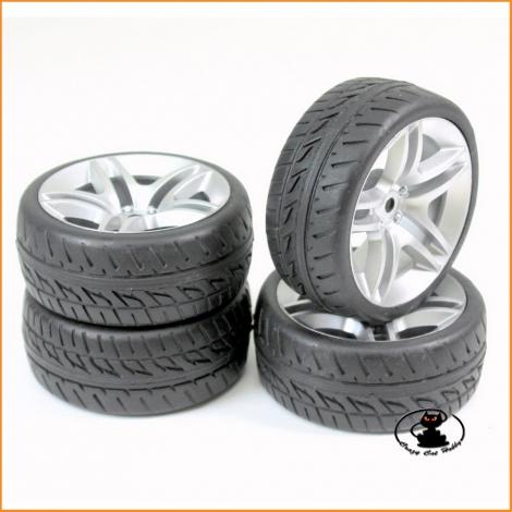 "Wheel Set Onroad ""10 Spoke / Profile"" silver 1:10 (4 pcs) - Absima 2510005"