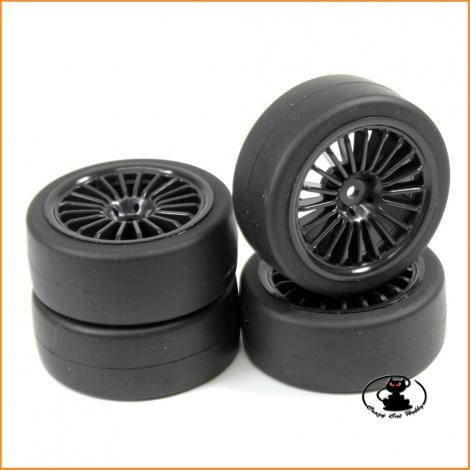 """Wheel Set Onroad """"10 Spoke Black """" slick 1:10 (4 pcs) - Absima 2510001"""