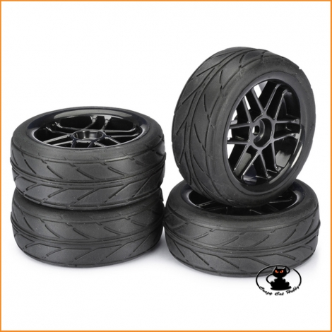"Wheel Set Onroad ""6 Spoke Black "" profile 1:10 (4 pcs) - Absima 2510003"