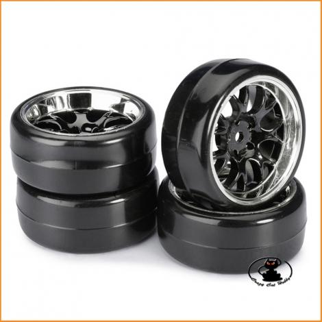 Wheel Set Drift B Profile Black-Chrome  1:10 (4 pcs) - Absima 2510041