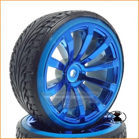 Drift Wheels Rims Blue-Chrome 1:10 (2 pieces) - VRX 010C002C