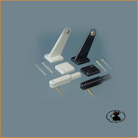 Mini Long Type Bracket with Uniball and fork (pair) H 23 mm hole 1.5 mm in resin - MP Jet 2233B