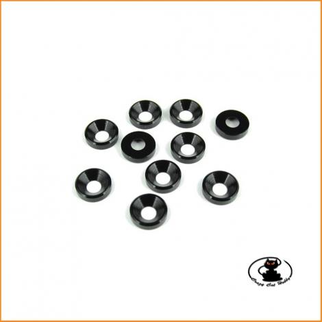Rondelle Alluminio Nero per Viti M4 Testa Svasata - 10 p.zi - T Works - TA-002BK
