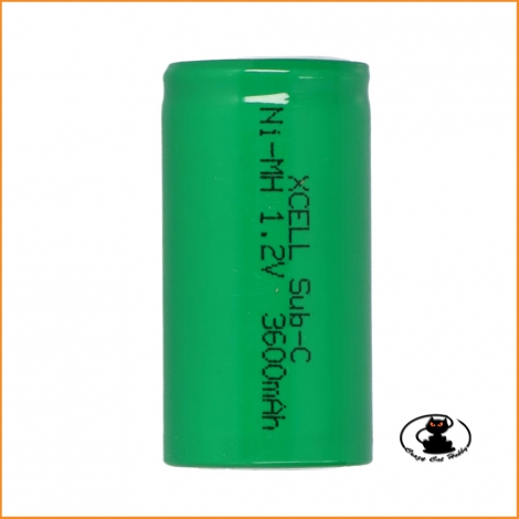 Battery NIMH 1,2V 3600 mAh Sub-C Xcell spare part for glow plug igniter