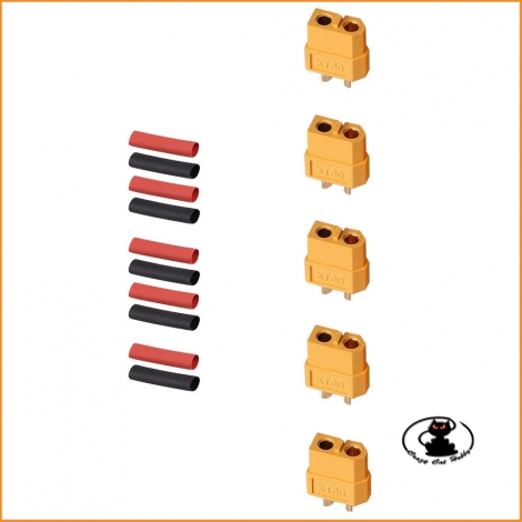Connettori XT60 - 5 pezzi femmina con termoretraibile pretagliato - Maxpro - MAXC26F
