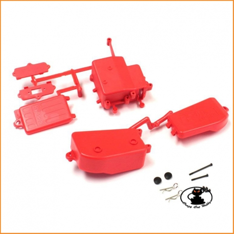 IFF001KRB Battery and Receiver Box Set Red Fluorescent Kyosho Mp9-Mp10-Mp10TKI2