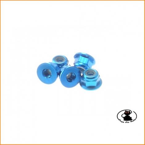Dadi M3 Autobloccanti in Alluminio con Flangia Azzurri ( 5 p.zi ) - Hiro Seiko 69237