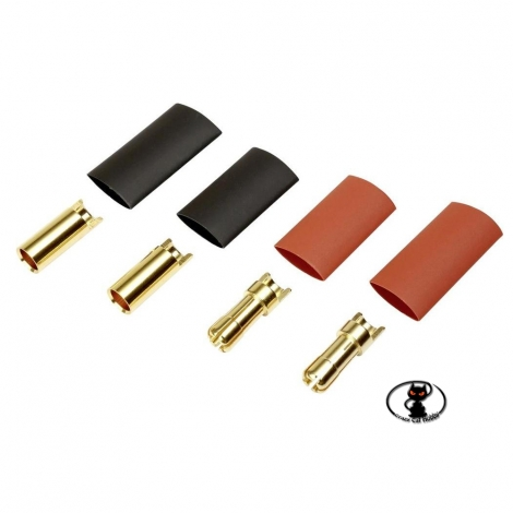 356780-AS1023 Round gold connector kit for batteries, ø 5.5 mm 2 female + 2 male to be welded with shrink-wrap