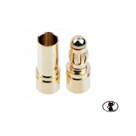 connettori per batterie tondi bullet dorati 3 mm