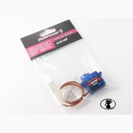 447582 Il servocomando Fullpower A2018P è un microservo analogico con ingranaggi in nylon