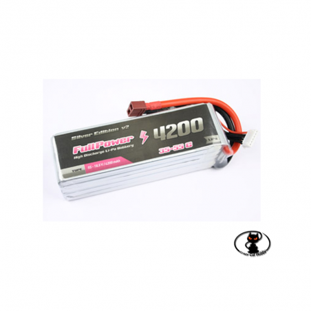 447697-Lipo battery 4200 mAh 4S 14.8 Volt - FullPower - 35C continuous - 50C peak 4 cells