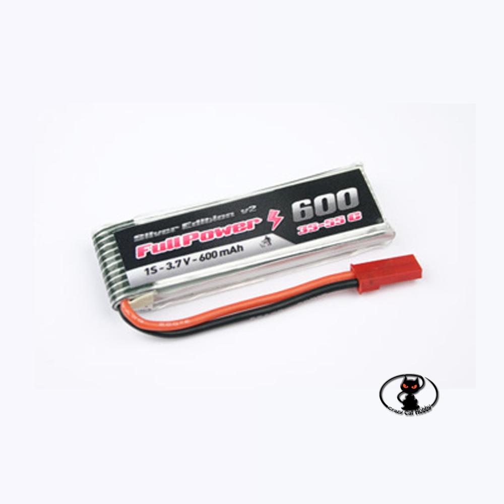 447720-Lipo Battery 600 mAh 1S 3.7 Volt - FullPower - 35C continuous - 50C peak 1 cell
