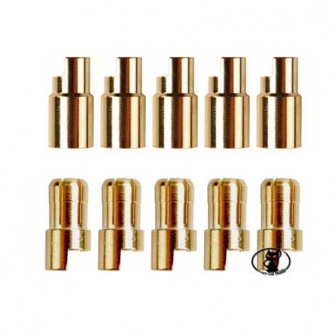 600157 Round gold connector kit for ø 6.5 mm batteries, 5 female + 5 taps