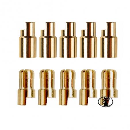 600157 Kit connettori dorati tondi per batterie ø 6.5 mm  5 femmine + 5 maschi da saldare