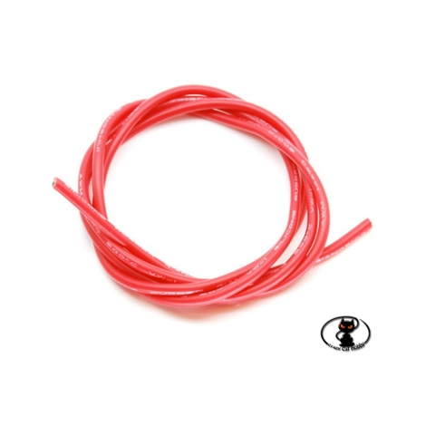 600164 Super-flexible red braided cable with AWG silicone insulation