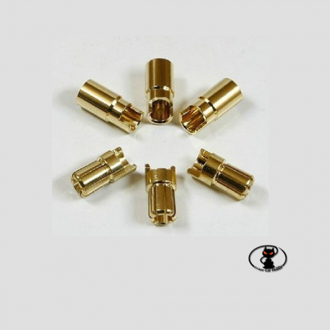 round gold bullet connectors for 6 mm batteries